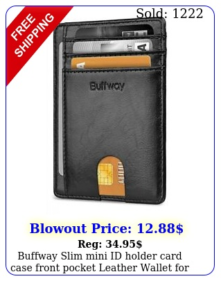 buffway slim mini id holder card case front pocket leather wallet men wome