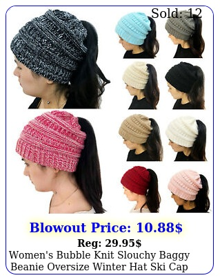 women's bubble knit slouchy baggy beanie oversize winter hat ski cap freeship u
