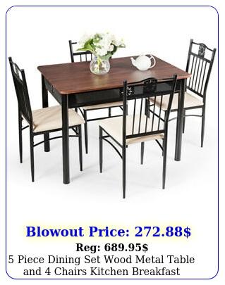 piece dining set wood metal table chairs kitchen breakfast furniture ne