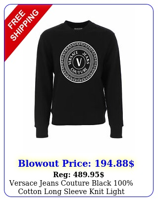 versace jeans couture black cotton long sleeve knit light sweate