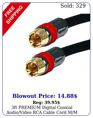 ft premium digital coaxial audiovideo rca cable cord mm rgu coax gold su