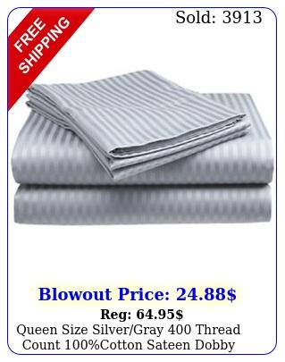 queen size silvergray thread count cotton sateen dobby stripe sheet se