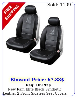 ram elite black synthetic leather front sideless seat covers car truc