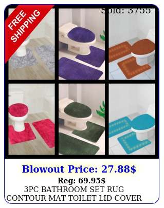 pc bathroom set rug contour mat toilet lid cover solid embroidery bathmat