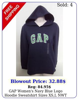 gap women's navy blue logo hoodie sweatshirt sizes xsl nw