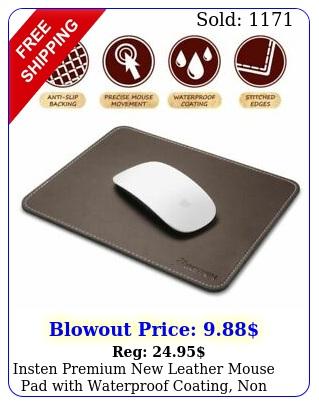 insten premium leather mouse pad with waterproof coating non slip elegan