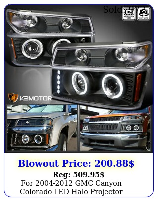 gmc canyon colorado led halo projector headlights bumper blac