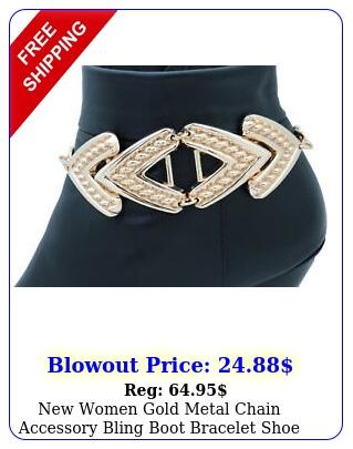 women gold metal chain accessory bling boot bracelet shoe anklet arrow char