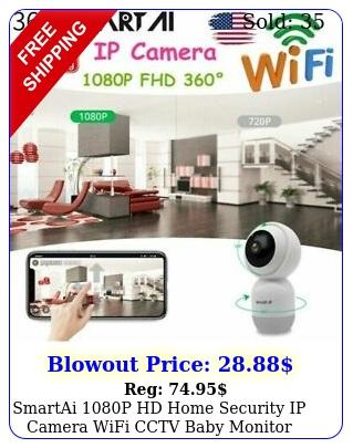 smartai p hd home security ip camera wifi cctv baby monitor night vision ca