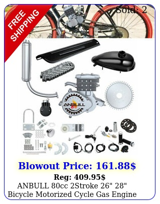 anbull cc stroke  bicycle motorized cycle gas engine motor kit silve