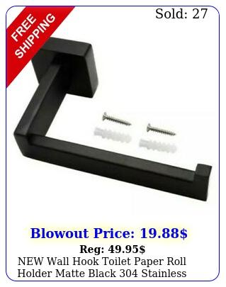 wall hook toilet paper roll holder matte black stainless steel bathroo