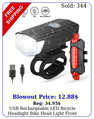 usb rechargeable led bicycle headlight bike head light front rear lamp cyclin