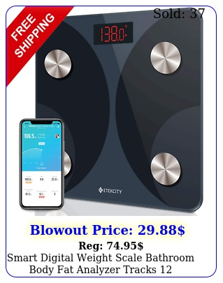smart digital weight scale bathroom body fat analyzer tracks bluetooth blac