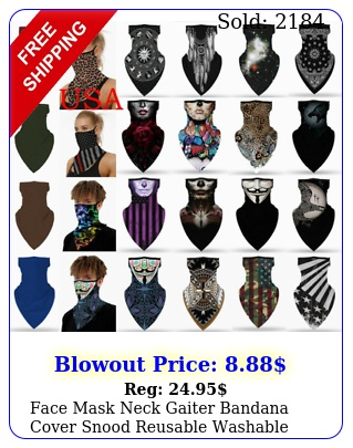 face mask neck gaiter bandana cover snood reusable washable scarf with loops ea
