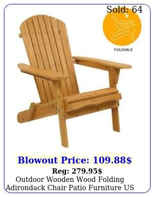 outdoor wooden wood folding adirondack chair patio furniture us shi