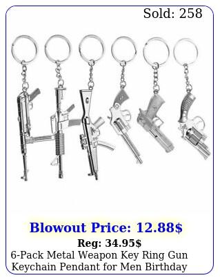 pack metal weapon key ring gun keychain pendant men birthday gifts silve