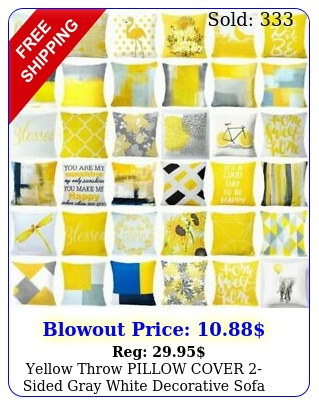 yellow throw pillow cover sided gray white decorative sofa cushion case