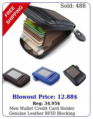 men wallet credit card holder genuine leather rfid blocking zipper pocket thi