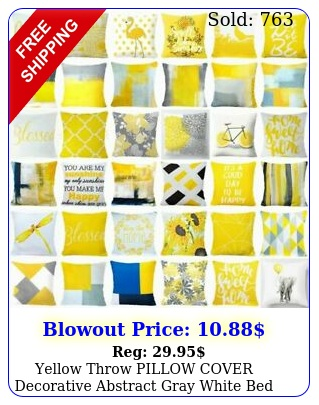 yellow throw pillow cover decorative abstract gray white bed cushion case