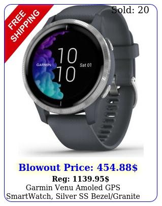 garmin venu amoled gps smartwatch silver ss bezelgranite blue wrist hr