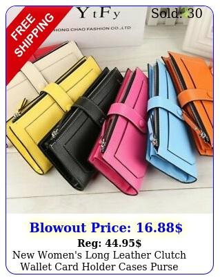 women's long leather clutch wallet card holder cases purse handbags bag u