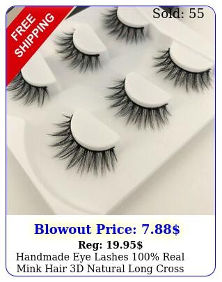 handmade eye lashes real mink hair d natural long cross false eyelashes u