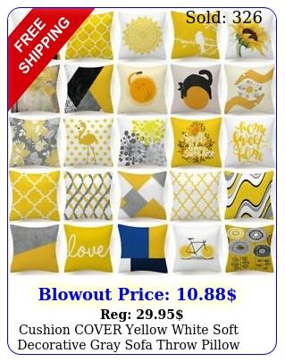 cushion cover yellow white soft decorative gray sofa throw pillow case x u