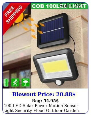 led solar power motion sensor light security flood outdoor garden path lam