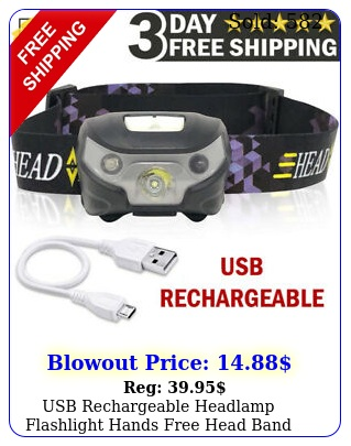 usb rechargeable headlamp flashlight hands free head band outdoor lamp led ligh