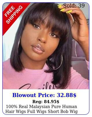 real malaysian pure human hair wigs full wigs short bob wig with bangs