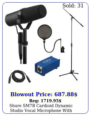 shure smb cardioid dynamic studio vocal microphone with accessory bundl
