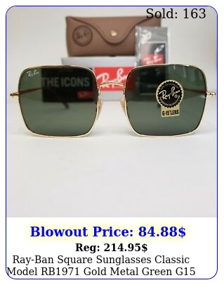 rayban square sunglasses classic model rb gold metal green g lense