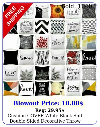 cushion cover white black soft doublesided decorative throw pillow case