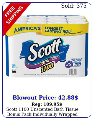scott unscented bath tissue bonus pack individually wrapped toilet roll