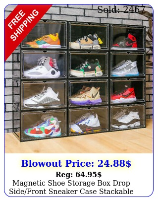 magnetic shoe storage drop sidefront sneaker case stackable container x