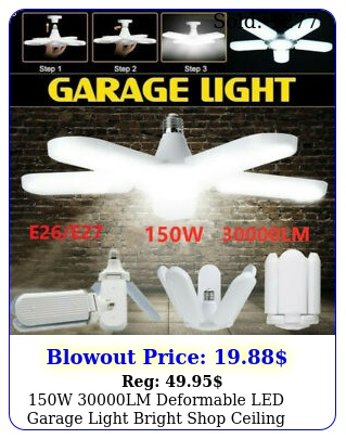 w lm deformable led garage light bright shop ceiling lights fixture bul
