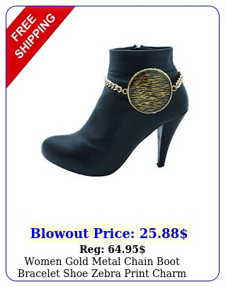 women gold metal chain boot bracelet shoe zebra print charm fashion accessor