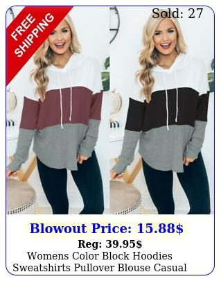 womens color block hoodies sweatshirts pullover blouse casual loose hooded top