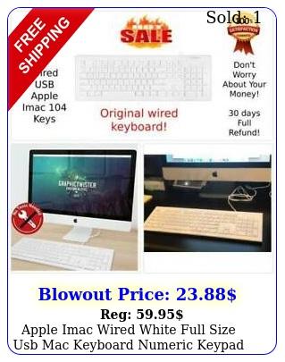 apple imac wired white full size usb mac keyboard numeric keypad white pc key