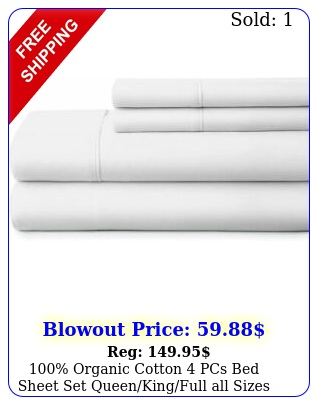 organic cotton pcs bed sheet set queenkingfull all sizes white soli
