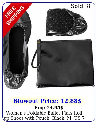 women's foldable ballet flats roll up shoes with pouch black m us