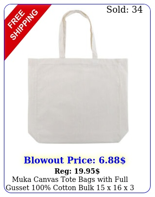 muka canvas tote bags with full gusset cotton bulk  x x  inche