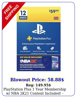 playstation plus year membership w nba k content included ships toda