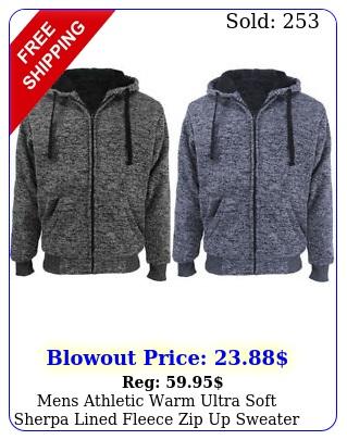 mens athletic warm ultra soft sherpa lined fleece zip up sweater jacket hoodi