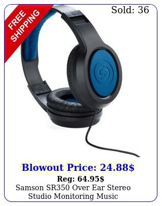 samson sr over ear stereo studio monitoring music headphones blu