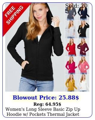 women's long sleeve basic zip up hoodie w pockets thermal jacke