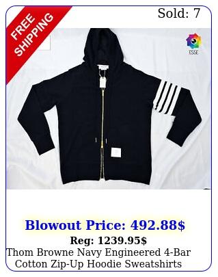 thom browne navy engineered bar cotton zipup hoodie sweatshirts size m
