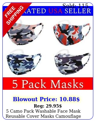 camo pack washable face mask reusable cover masks camouflage cloth men wome