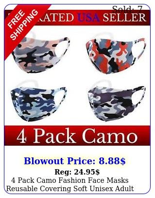 pack camo fashion face masks reusable covering soft unisex adult d mask clot