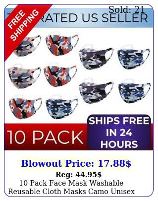 pack face mask washable reusable cloth masks camo unisex usa breathable mout
